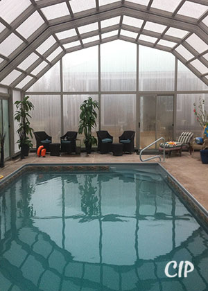 pool enclosure in winter USA