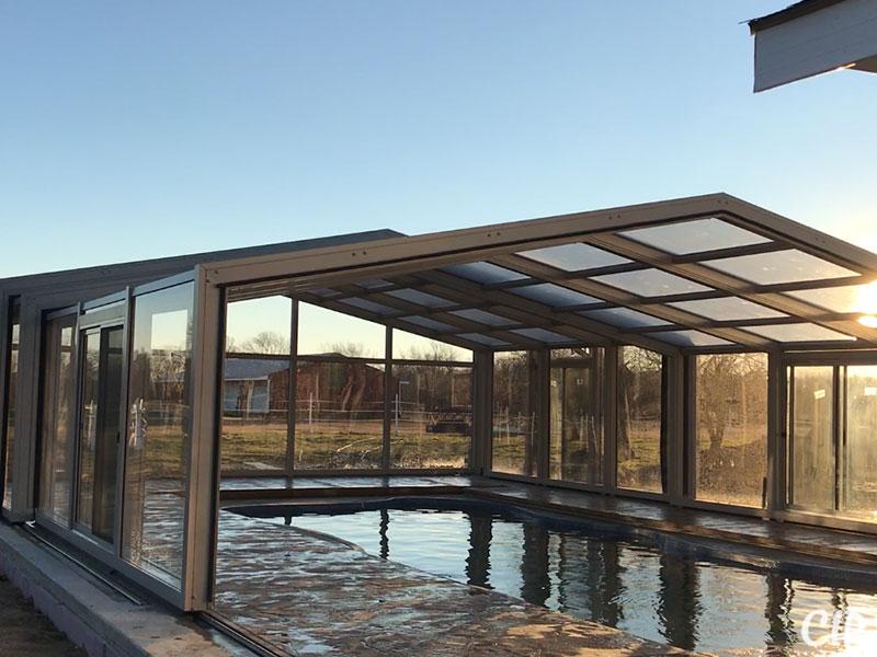 Retractable Pool Enclosure partially open USA